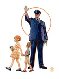 """Policeman and School Children,""October 3, 1931 Giclee Print by Joseph Christian Leyendecker"