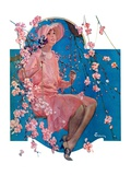 """Woman on Floral Swing,""May 19, 1928 Giclee Print by Elbert Mcgran Jackson"