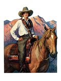 """Woman on Horse in Mountains,""October 6, 1928 Giclee Print by William Henry Dethlef Koerner"