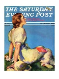 """Inspired by Poetry,"" Saturday Evening Post Cover, August 24, 1935 Giclee Print by Guy Hoff"
