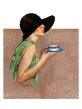 """Lady in Wide Brim Hat Holding Tea Cup,""March 24, 1928 Giclée-Druck von Penrhyn Stanlaws"