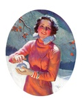 """Woman Forming a Snowball,""February 10, 1934 Giclee Print by Frederic Mizen"