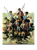 """Raft Fishing,""July 30, 1927 Giclee Print by Eugene Iverd"
