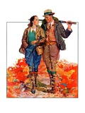"""Hunting Couple on Walk,""November 1, 1936 Giclee Print by J. Hennesy"