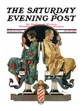 """Couple in Barber Chairs,"" Saturday Evening Post Cover, May 10, 1930 Giclee Print by Elbert Mcgran Jackson"