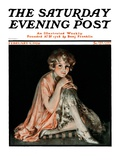 """Pensive Woman,"" Saturday Evening Post Cover, February 9, 1924 Giclee Print by Pearl L. Hill"