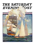 """Ship and Sailboats,"" Saturday Evening Post Cover, July 16, 1932 Giclée-tryk af Gordon Grant"