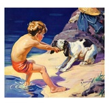 """Pooch Doesn't Want to Swim,""September 1, 1934 Giclee Print by Henry Hintermeister"