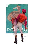 """Jockey Looks at Poster,""May 8, 1937 Giclee Print by John E. Sheridan"