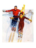 """Couple Downhill Skiing,""January 1, 1937 Giclee Print by R.J. Cavaliere"