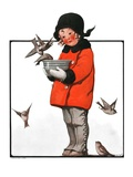 """Little Girl Feeding Birds,""January 31, 1925 Giclee Print by Sarah Stilwell Weber"