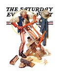 """Uncle Sam Sawing Wood,"" Saturday Evening Post Cover, July 2, 1932 Giclee Print by Joseph Christian Leyendecker"