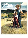 """Father and Son on Hay Wagon,"" Country Gentleman Cover, June 1, 1944 Giclee Print by Newell Convers Wyeth"