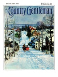 """Sleigh on Snowy Village Street,"" Country Gentleman Cover, February 1, 1931 Giclee Print by Walter Baum"