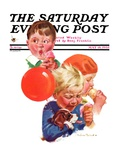 """Birthday Party,"" Saturday Evening Post Cover, May 18, 1935 Giclee Print by Cushman Parker"