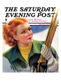 """Woman with Snow Skis,"" Saturday Evening Post Cover, March 2, 1935 Giclee Print by Bradshaw Crandall"