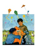 """Patching a Kite,""September 15, 1928 Giclee Print by Eugene Iverd"