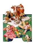 """""""Cow Joins the Picnic,""""August 26, 1933 Giclee Print by J.C. Leyendecker"""