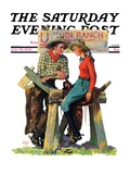 """Dude Ranchers,"" Saturday Evening Post Cover, July 23, 1932 Giclee Print by Charles Hargens"