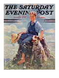"""Boy and Dog in Nature,"" Saturday Evening Post Cover, June 11, 1932 Giclee Print by Eugene Iverd"