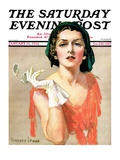 """Woman and Pince Nez,"" Saturday Evening Post Cover, January 16, 1932 Giclee Print by Tempest Inman"