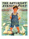 """Toy Sailboats,"" Saturday Evening Post Cover, June 24, 1933 Giclee Print by Eugene Iverd"