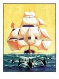 """""""Dolphins and Ship,""""September 29, 1934 Giclée-tryk af Gordon Grant"""