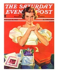 &quot;Valentine&#39;s Gifts,&quot; Saturday Evening Post Cover, February 16, 1935 Giclee Print by F. Sands Brunner