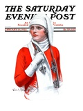 """Woman and Ice Scates,"" Saturday Evening Post Cover, January 26, 1924 Giclee Print by Charles A. MacLellan"