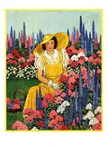 """Cutting Flowers from Her Garden,""August 1, 1933 Giclee Print by Carolyn Haywood"