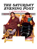 """Two Men in Deck Chairs,"" Saturday Evening Post Cover, January 16, 1937 Giclee Print by Leslie Thrasher"