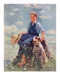 """Boy and Dog in Nature,""June 11, 1932 Giclee Print by Eugene Iverd"