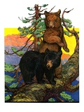 """Bears in Tree,""August 16, 1930 Giclee Print by Charles Bull"