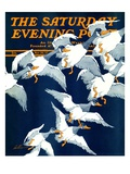 """Flying South,"" Saturday Evening Post Cover, November 20, 1937 Giclee Print by Ski Weld"