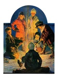"""Skaters' Bonfire,""February 21, 1931 Giclee Print by Eugene Iverd"