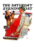 """Fill'er Up,"" Saturday Evening Post Cover, April 3, 1937 Giclee Print by McCauley Conner"