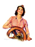 """Woman Takes the Wheel,""October 14, 1933 Giclee Print by Robert C. Kauffmann"
