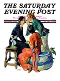 """Gossiping,"" Saturday Evening Post Cover, December 5, 1931 Giclee Print by John LaGatta"