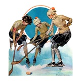 """Girls Playing Ice Hockey,""February 23, 1929 Giclee Print by Blanche Greer"