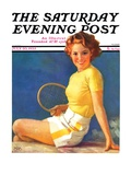 """Tennis Time-Out,"" Saturday Evening Post Cover, July 20, 1935 Giclee Print by Walt Otto"