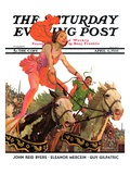 """Circus Bareback Riders,"" Saturday Evening Post Cover, April 6, 1935 Giclee Print by Maurice Bower"