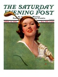 """Portrait of Lady Golfer,"" Saturday Evening Post Cover, April 22, 1933 Giclee Print by Penrhyn Stanlaws"
