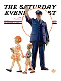 """Policeman and School Children,"" Saturday Evening Post Cover, October 3, 1931 Giclee Print by Joseph Christian Leyendecker"