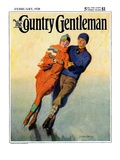 """Skating Couple,"" Country Gentleman Cover, February 1, 1928 Giclee Print by McClelland Barclay"