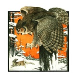 """Owl and Rabbit,""March 14, 1925 Giclee Print by Paul Bransom"