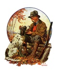 """Hunter and Spaniel,""November 3, 1928 Giclee Print by J.F. Kernan"