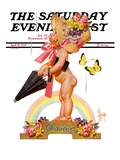 """""""Easter Rainbow,"""" Saturday Evening Post Cover, April 16, 1938 Giclee Print by Joseph Christian Leyendecker"""