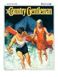 """Camping Couple Goes Swimming,"" Country Gentleman Cover, August 1, 1928 Giclee Print by William Meade Prince"