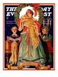 """Victorian Family at Christmas,"" Saturday Evening Post Cover, December 29, 1934 Giclee Print by J.C. Leyendecker"