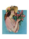 """Pink Rose Bouquet,""June 18, 1927 Giclee Print by Penrhyn Stanlaws"